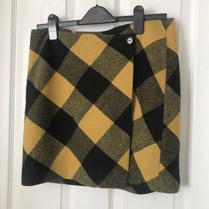 KENZIE Mustard Yellow plaid skirt